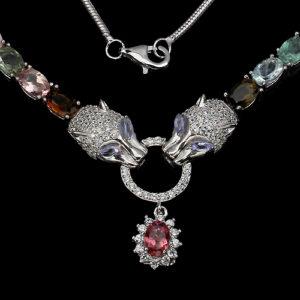 Stříbrný náhrdelník, turmalíny tanzanity